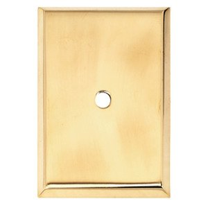 "Alno Inc. Creations - Knobs VI - 1 1/4"" Rectangle Knob Backplate in Unlacquered Brass"