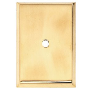 "Alno Inc. Creations - Knobs VI - 1 1/2"" Rectangle Knob Backplate in Unlacquered Brass"