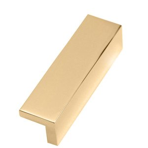 "Alno Creations Cabinet Hardware - Solid Brass 3 1/2"" Centers Tab Pull in Polished Brass"