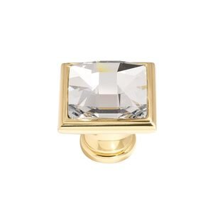 "Alno Inc. Creations - Crystal - Solid Brass 1 1/4"" Square Knob in Swarovski /Polished Brass"