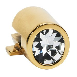 "Alno Inc. Creations - Convertibles Ring Pulls - Crystal Small Round Mount for Rings 1 1/2"", 2"", 2 1/2"" in Polished Brass"