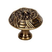 "Alno Inc. Creations - Ribbon & Reed - Solid Brass 1 1/2"" Knob in Antique English"