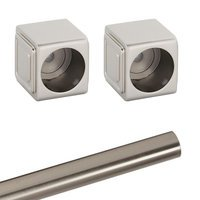 Alno Inc. Creations - Cube - Shower Rod & Brackets in Satin Nickel