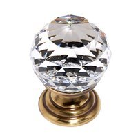 "Alno Inc. Creations - Crystal - Solid Brass 1 3/16"" Spherical Knob in Swarovski /Polished Antique"