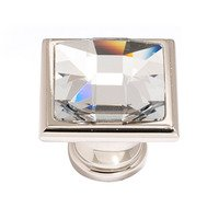 "Alno Inc. Creations - Crystal - Solid Brass 1 1/4"" Square Knob in Swarovski /Polished Nickel"