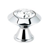 "Alno Inc. Creations - Contemporary Crystal - Solid Brass Swarovski Crystal 1 1/4"" Knob in Polished Chrome"